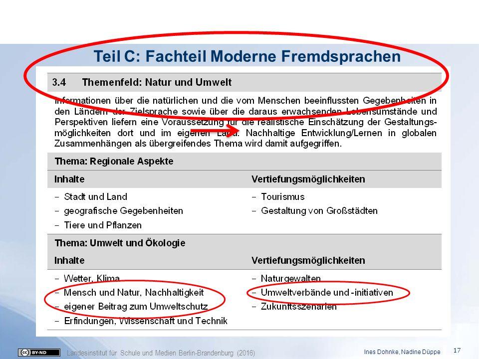 Landesinstitut für Schule und Medien Berlin-Brandenburg (2016) Teil C: Fachteil Moderne Fremdsprachen Ines Dohnke, Nadine Düppe 17