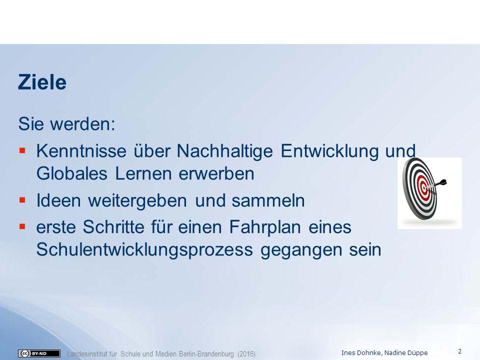 Landesinstitut für Schule und Medien Berlin-Brandenburg (2016) Ziele Sie werden:  Kenntnisse über Nachhaltige Entwicklung und Globales Lernen erwerbe