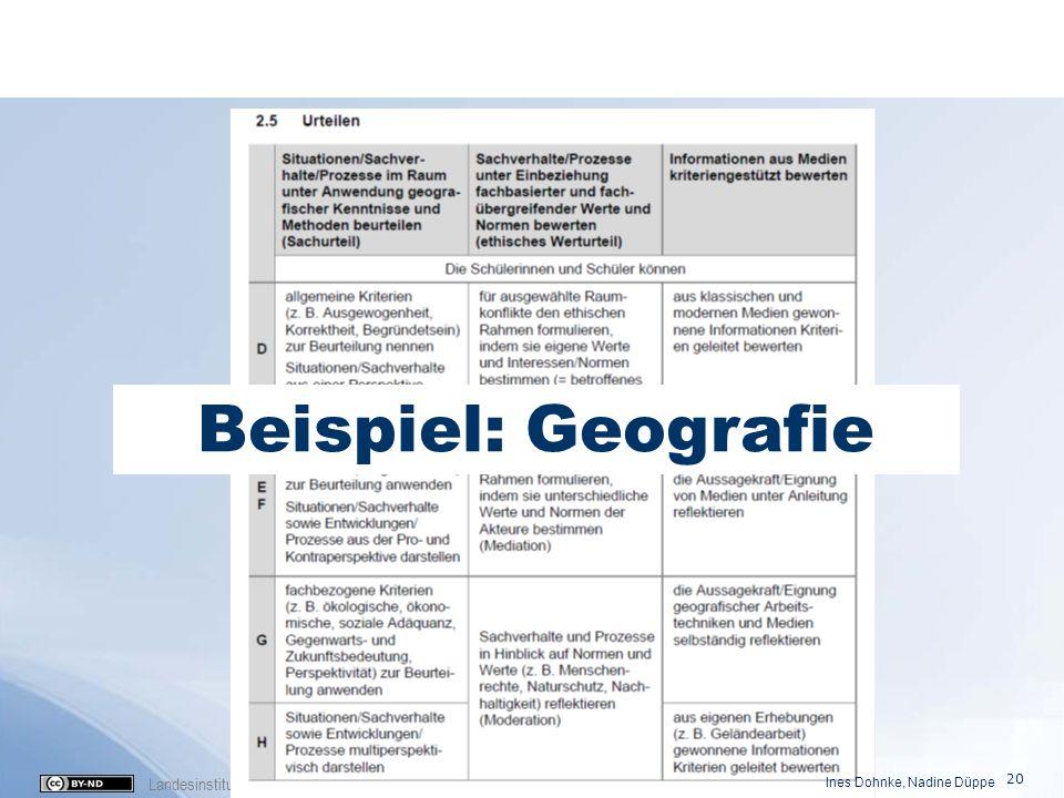 Landesinstitut für Schule und Medien Berlin-Brandenburg (2016) Beispiel: Geografie Ines Dohnke, Nadine Düppe 20