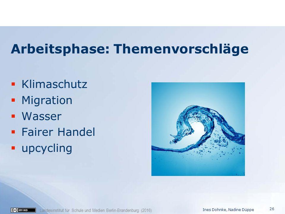 Landesinstitut für Schule und Medien Berlin-Brandenburg (2016) Arbeitsphase: Themenvorschläge  Klimaschutz  Migration  Wasser  Fairer Handel  upc