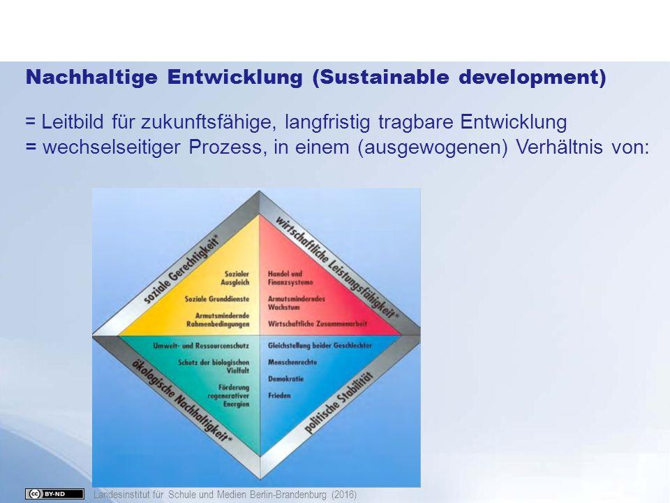 Landesinstitut für Schule und Medien Berlin-Brandenburg (2016) Nachhaltige Entwicklung (Sustainable development) = Leitbild für zukunftsfähige, langfr