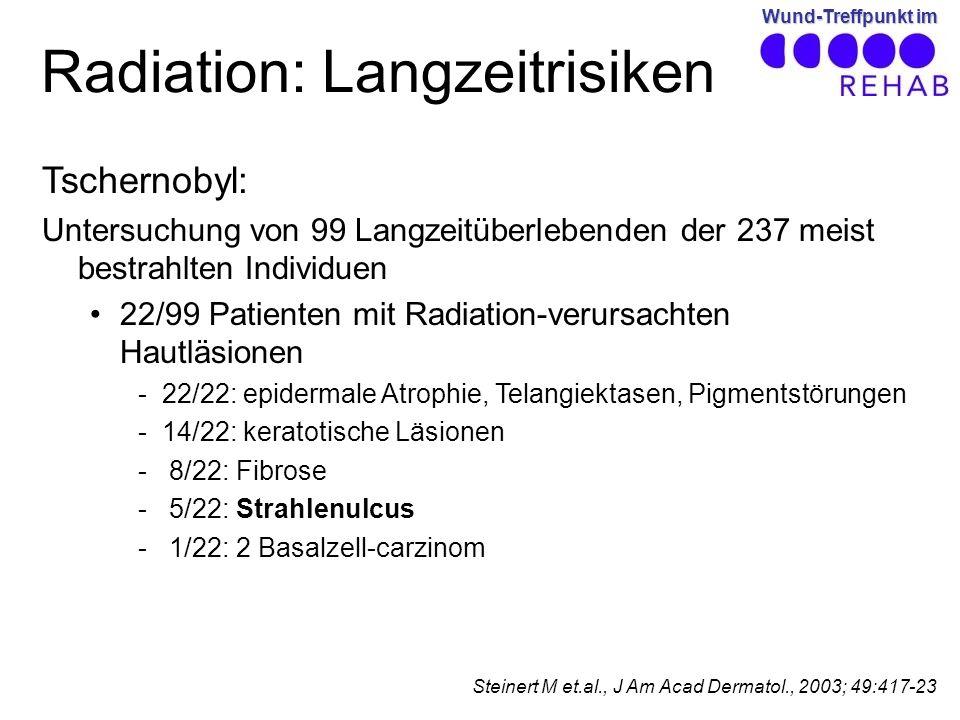 Wund-Treffpunkt im Radiation: Langzeitrisiken Tschernobyl: Untersuchung von 99 Langzeitüberlebenden der 237 meist bestrahlten Individuen 22/99 Patienten mit Radiation-verursachten Hautläsionen -22/22: epidermale Atrophie, Telangiektasen, Pigmentstörungen -14/22: keratotische Läsionen - 8/22: Fibrose - 5/22: Strahlenulcus - 1/22: 2 Basalzell-carzinom Steinert M et.al., J Am Acad Dermatol., 2003; 49:417-23