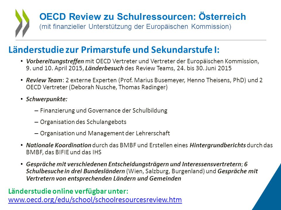 Länderstudie zur Primarstufe und Sekundarstufe I: Vorbereitungstreffen mit OECD Vertreter und Vertreter der Europäischen Kommission, 9.