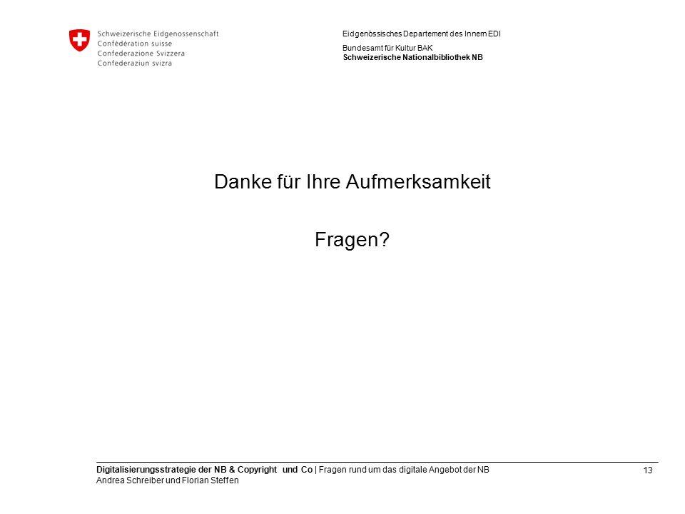 13 Digitalisierungsstrategie der NB & Copyright und Co | Fragen rund um das digitale Angebot der NB Andrea Schreiber und Florian Steffen Eidgenössisch