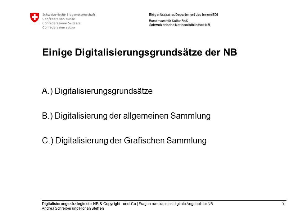 3 Digitalisierungsstrategie der NB & Copyright und Co | Fragen rund um das digitale Angebot der NB Andrea Schreiber und Florian Steffen Eidgenössische