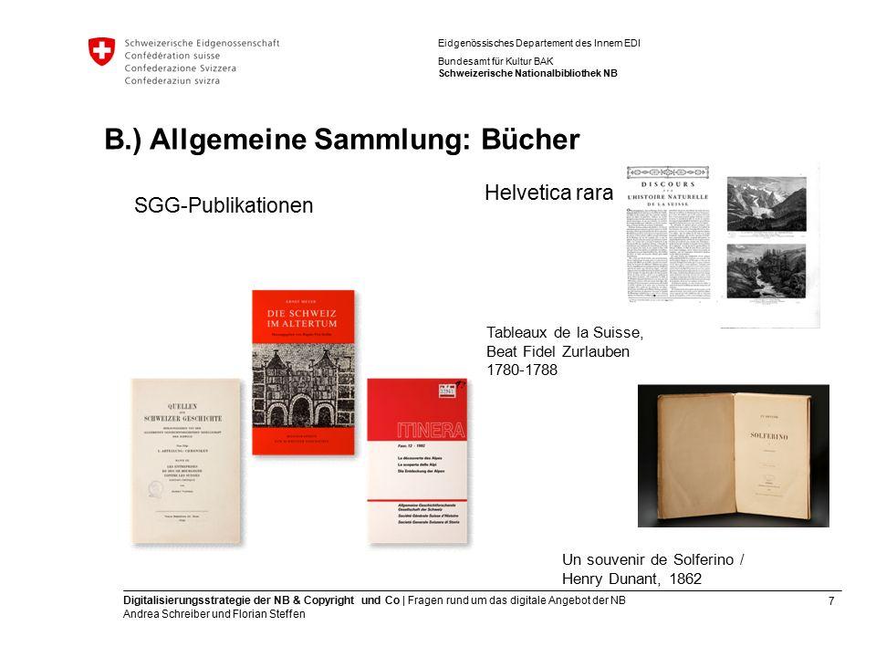 7 Digitalisierungsstrategie der NB & Copyright und Co | Fragen rund um das digitale Angebot der NB Andrea Schreiber und Florian Steffen Eidgenössische