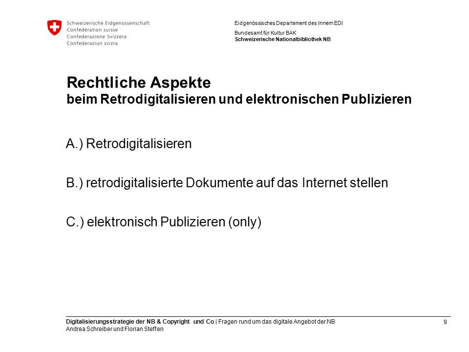 9 Digitalisierungsstrategie der NB & Copyright und Co | Fragen rund um das digitale Angebot der NB Andrea Schreiber und Florian Steffen Eidgenössische