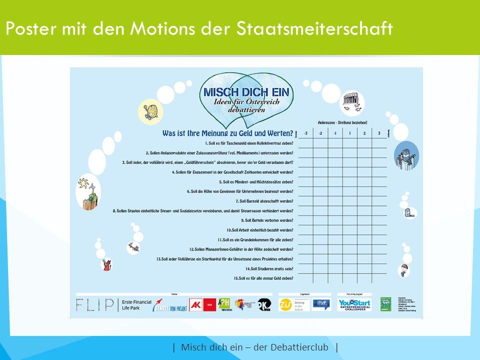 Poster mit den Motions der Staatsmeiterschaft | Misch dich ein – der Debattierclub |