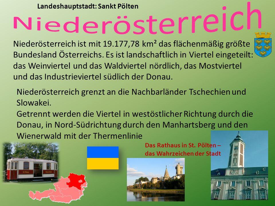 Niederösterreich ist mit 19.177,78 km² das flächenmäßig größte Bundesland Österreichs.