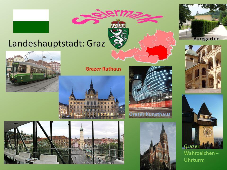 Landeshauptstadt: Graz Grazer Wahrzeichen – Uhrturm Grazer Rathaus Burggarten Grazer Kunsthaus