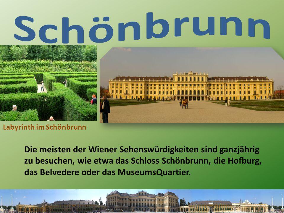 Die meisten der Wiener Sehenswürdigkeiten sind ganzjährig zu besuchen, wie etwa das Schloss Schönbrunn, die Hofburg, das Belvedere oder das MuseumsQuartier.
