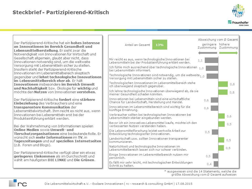 Die Lebensmittelwirtschaft e.V. - Essbare Innovationen | rc - research & consulting GmbH | 17.08.2015 Mir reicht es aus, wenn technologische Innovatio