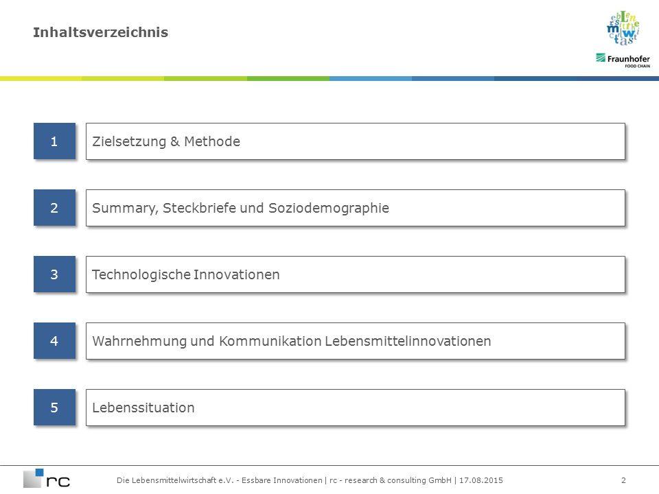 Die Lebensmittelwirtschaft e.V. - Essbare Innovationen | rc - research & consulting GmbH | 17.08.2015 Inhaltsverzeichnis 2 Zielsetzung & Methode Summa