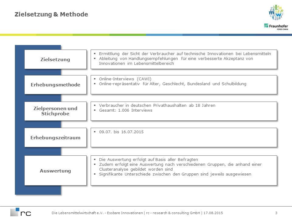 Die Lebensmittelwirtschaft e.V. - Essbare Innovationen | rc - research & consulting GmbH | 17.08.2015 Zielsetzung & Methode 3 Zielsetzung Erhebungsmet