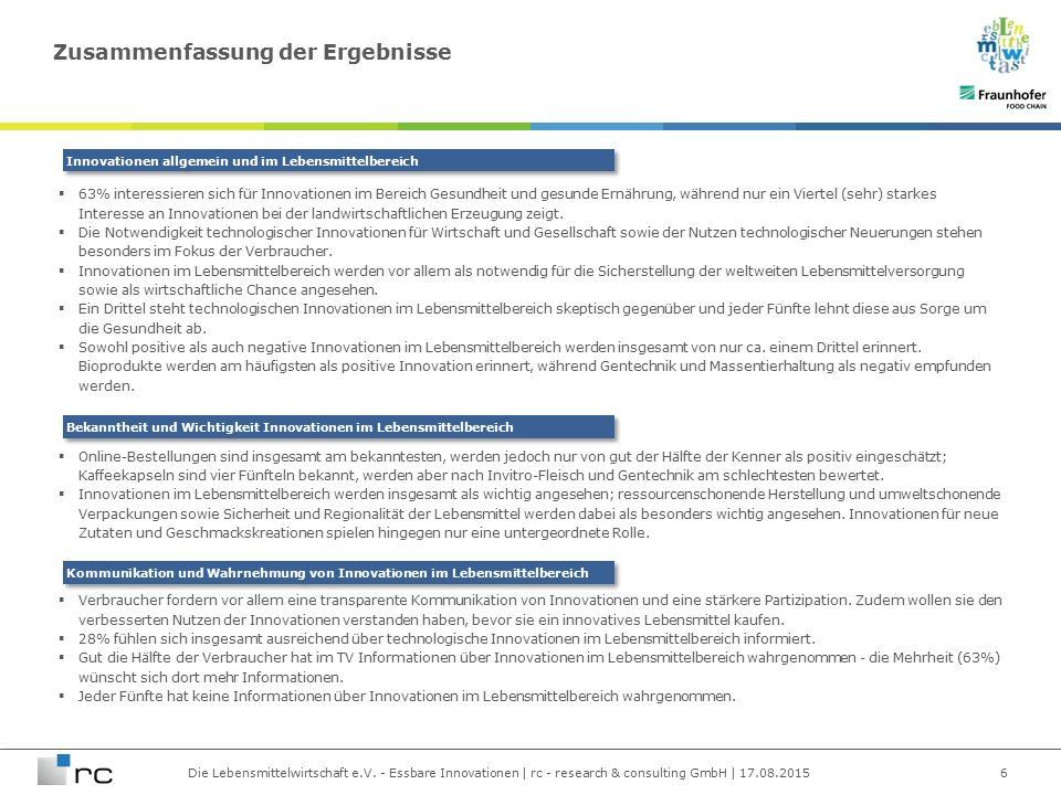 Die Lebensmittelwirtschaft e.V. - Essbare Innovationen | rc - research & consulting GmbH | 17.08.2015  63% interessieren sich für Innovationen im Ber