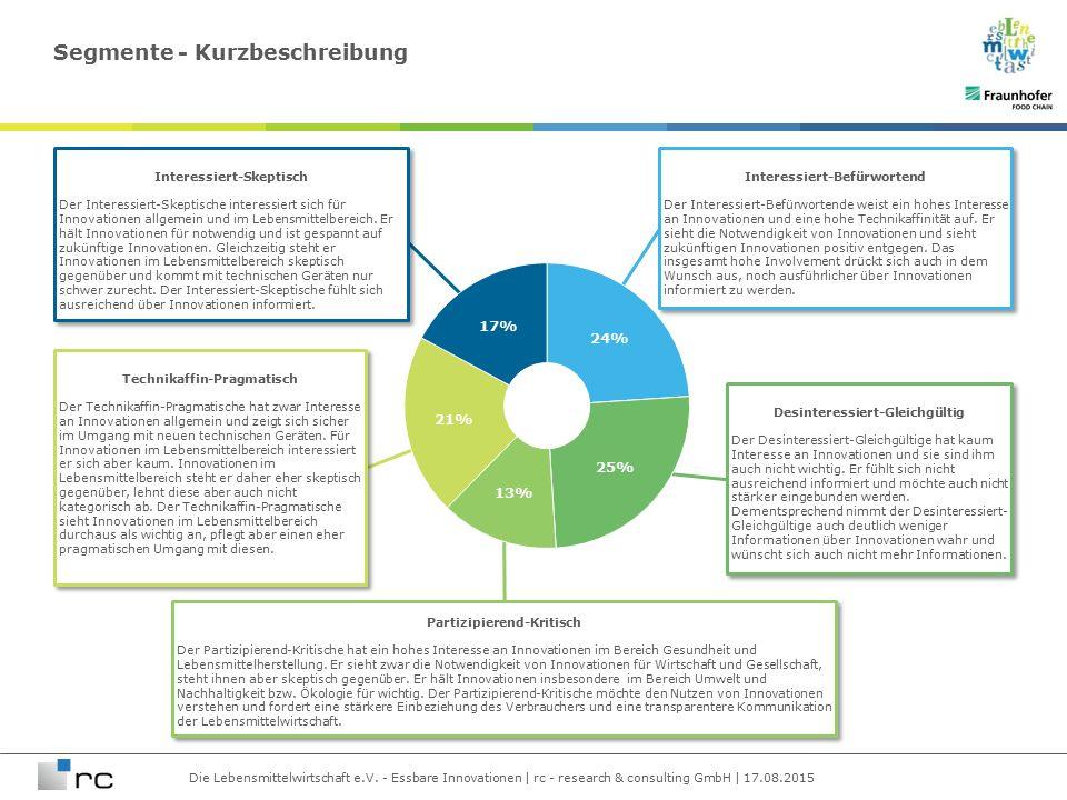 Die Lebensmittelwirtschaft e.V. - Essbare Innovationen | rc - research & consulting GmbH | 17.08.2015 Segmente - Kurzbeschreibung Technikaffin-Pragmat