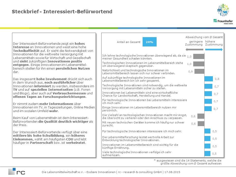 Die Lebensmittelwirtschaft e.V. - Essbare Innovationen | rc - research & consulting GmbH | 17.08.2015 Ich lehne technologische Innovationen überwiegen