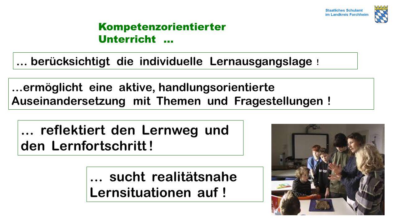 Kompetenzorientierter Unterricht … … berücksichtigt die individuelle Lernausgangslage ! …ermöglicht eine aktive, handlungsorientierte Auseinandersetzu