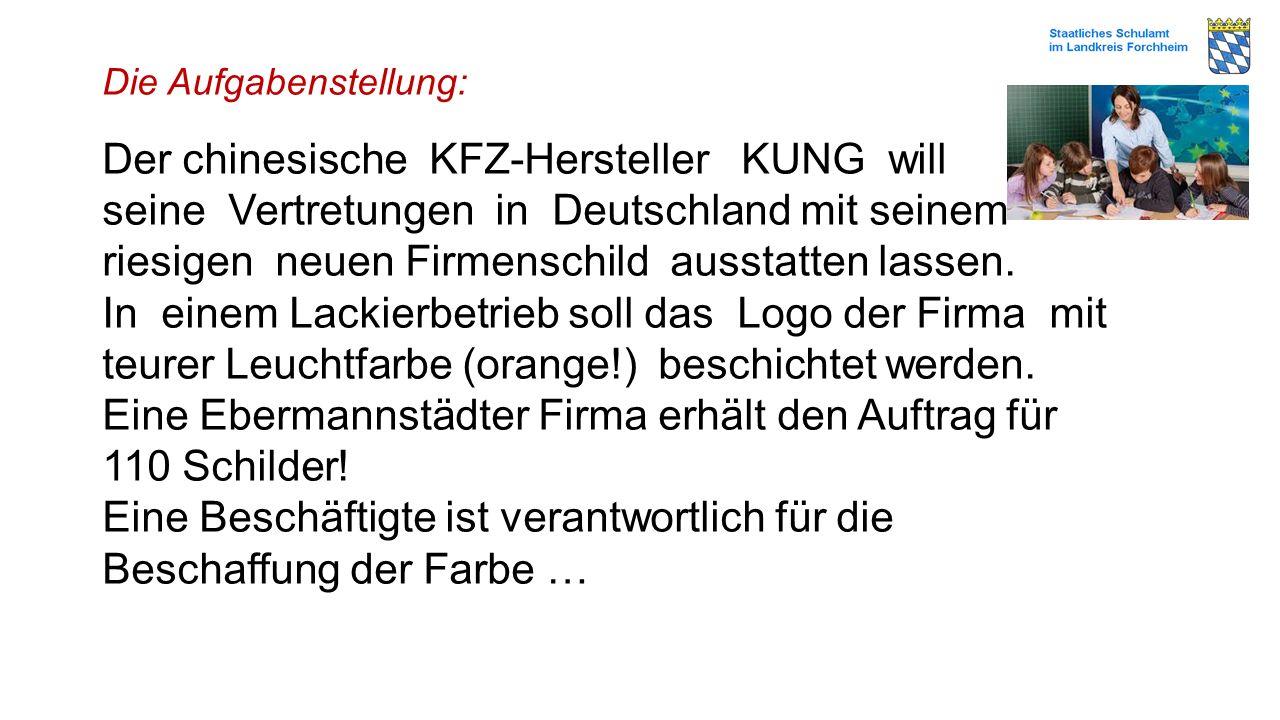 Die Aufgabenstellung: Der chinesische KFZ-Hersteller KUNG will seine Vertretungen in Deutschland mit seinem riesigen neuen Firmenschild ausstatten las