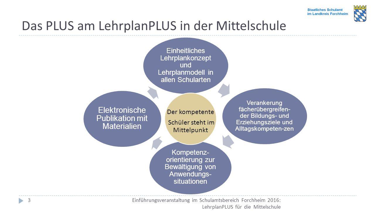 Das PLUS am LehrplanPLUS in der Mittelschule Einführungsveranstaltung im Schulamtsbereich Forchheim 2016: LehrplanPLUS für die Mittelschule 3 Einheitl