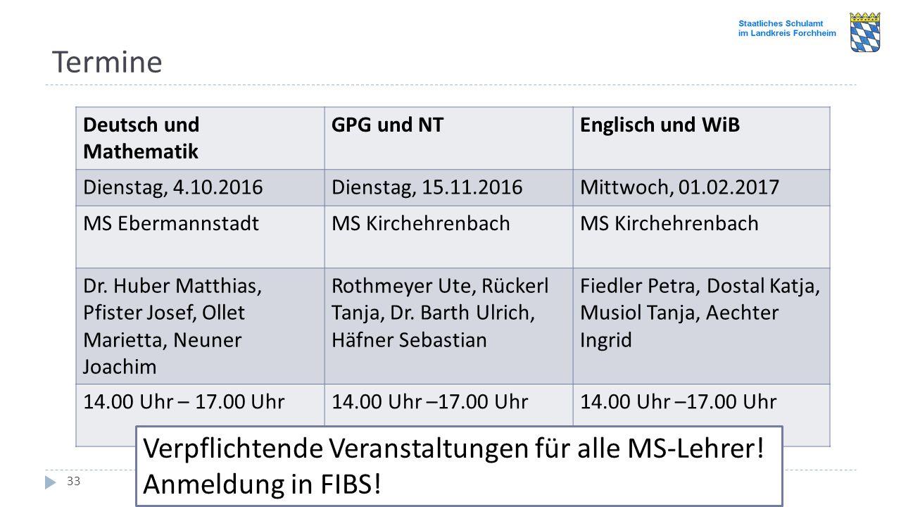 Termine Einführungsveranstaltung im Schulamtsbereich Forchheim 2016: LehrplanPLUS für die Mittelschule 33 Deutsch und Mathematik GPG und NTEnglisch un