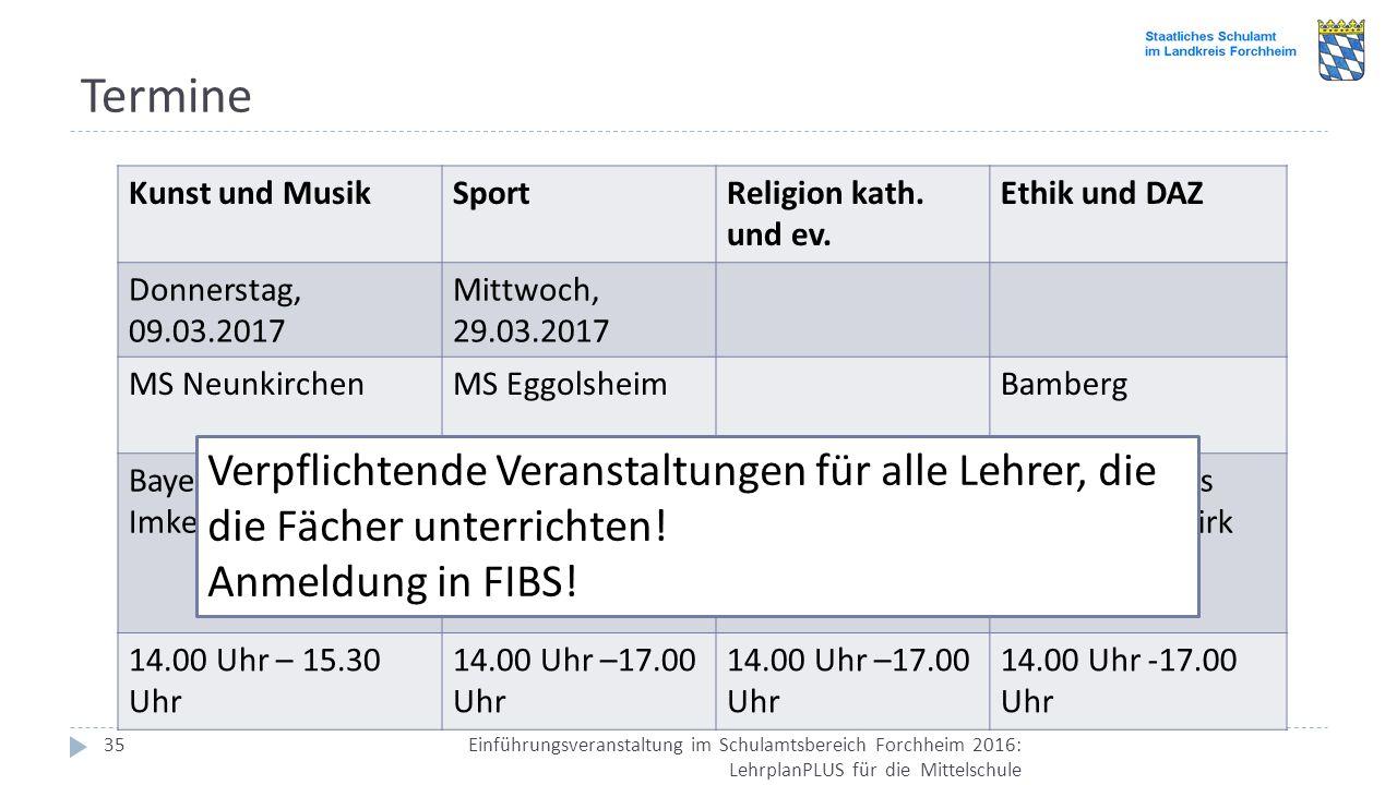 Termine Einführungsveranstaltung im Schulamtsbereich Forchheim 2016: LehrplanPLUS für die Mittelschule 35 Kunst und MusikSportReligion kath. und ev. E