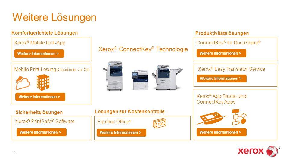 Weitere Lösungen Xerox ® Mobile Link-App Weitere Informationen > Xerox ® App Studio und ConnectKey Apps Equitrac Office ® Weitere Informationen > Lösu