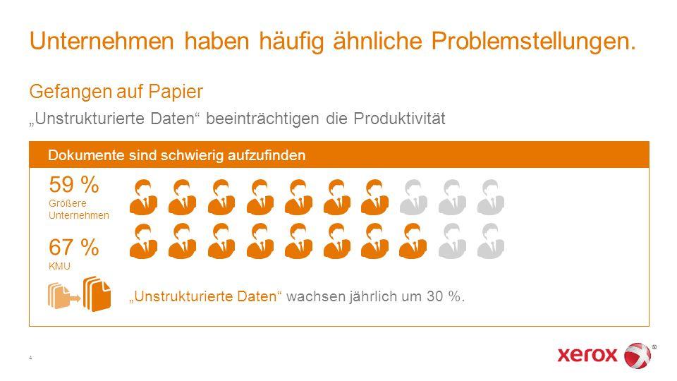 """Gefangen auf Papier """"Unstrukturierte Daten"""" beeinträchtigen die Produktivität Unternehmen haben häufig ähnliche Problemstellungen. 4 Dokumente sind sc"""