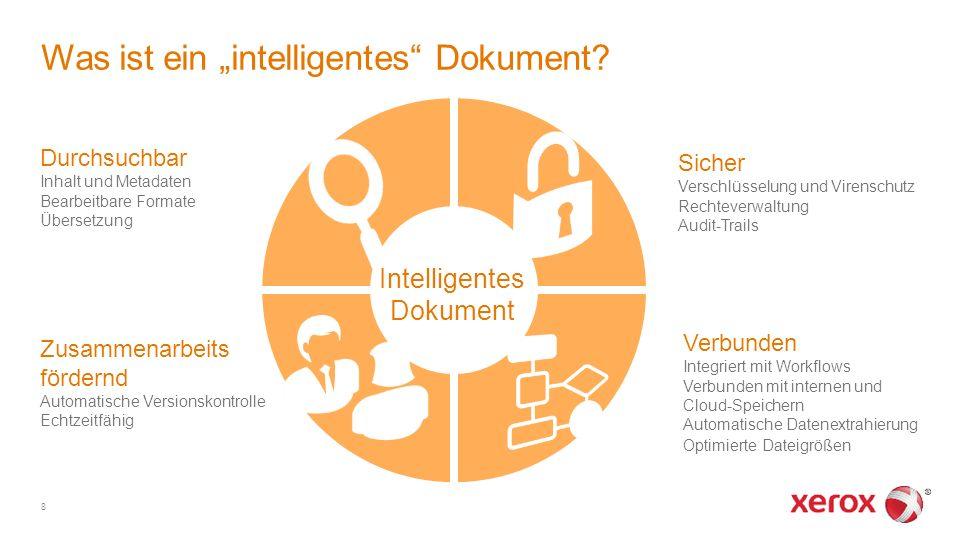 """Zusammenarbeits fördernd Automatische Versionskontrolle Echtzeitfähig Was ist ein """"intelligentes"""" Dokument? Durchsuchbar Inhalt und Metadaten Bearbeit"""