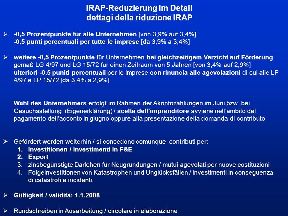IRAP-Reduzierung im Detail dettagi della riduzione IRAP  -0,5 Prozentpunkte für alle Unternehmen [von 3,9% auf 3,4%] -0,5 punti percentuali per tutte le imprese [da 3,9% a 3,4%]  weitere -0,5 Prozentpunkte für Unternehmen bei gleichzeitigem Verzicht auf Förderung gemäß LG 4/97 und LG 15/72 für einen Zeitraum von 5 Jahren [von 3,4% auf 2,9%] ulteriori -0,5 puniti percentuali per le imprese con rinuncia alle agevolazioni di cui alle LP 4/97 e LP 15/72 [da 3,4% a 2,9%] Wahl des Unternehmers erfolgt im Rahmen der Akontozahlungen im Juni bzw.