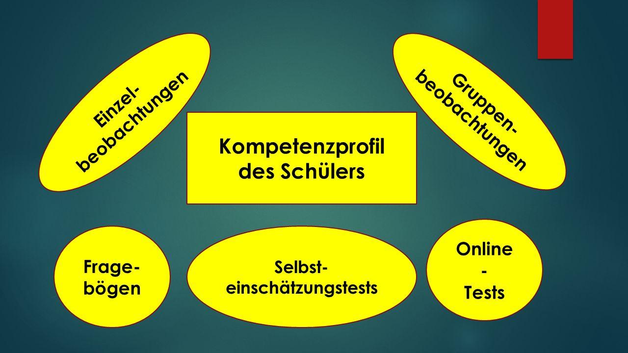 Wie wird das Kompetenzprofil des Schülers erstellt ? Online - Tests Einzel- beobachtungen Gruppen- beobachtungen Frage- bögen Selbst- einschätzungstes
