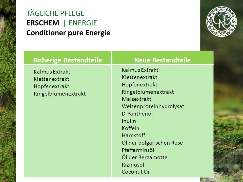Bisherige BestandteileNeue Bestandteile Kalmus Extrakt Klettenextrakt Hopfenextrakt Ringelblumenextrakt Kalmus Extrakt Klettenextrakt Hopfenextrakt Ringelblumenextrakt Maisextrakt Weizenproteinhydrolysat D-Panthenol Inulin Koffein Harnstoff Öl der bolgarischen Rose Pfefferminzöl Öl der Bergamotte Rizinusöl Coconut Oil TÄGLICHE PFLEGE ERSCHEM | ENERGIE Conditioner pure Energie