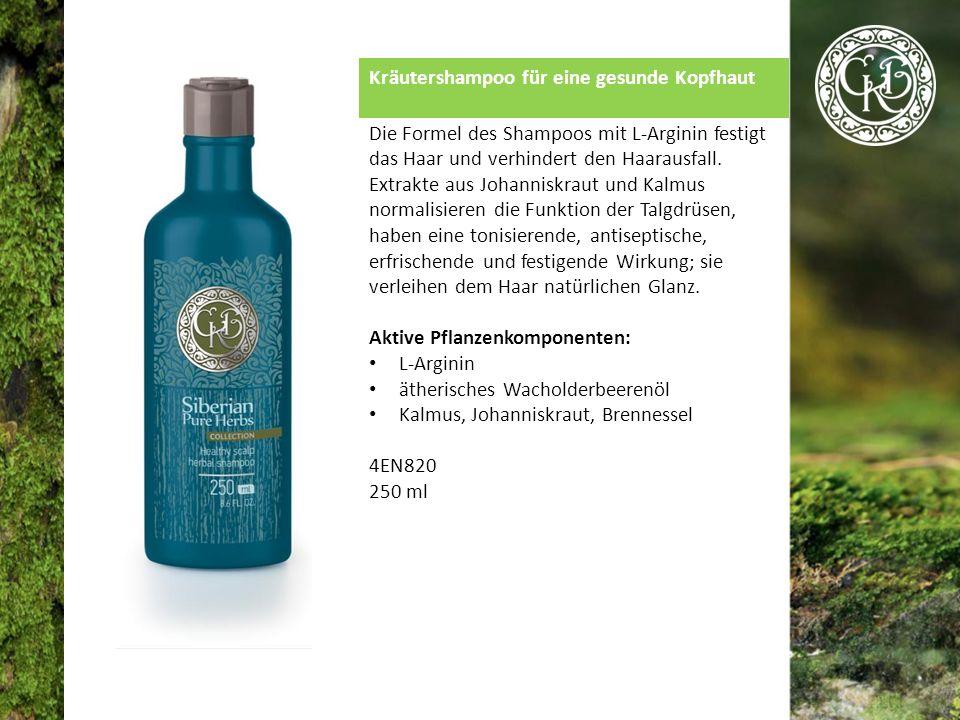 Kräutershampoo für eine gesunde Kopfhaut Die Formel des Shampoos mit L-Arginin festigt das Haar und verhindert den Haarausfall.