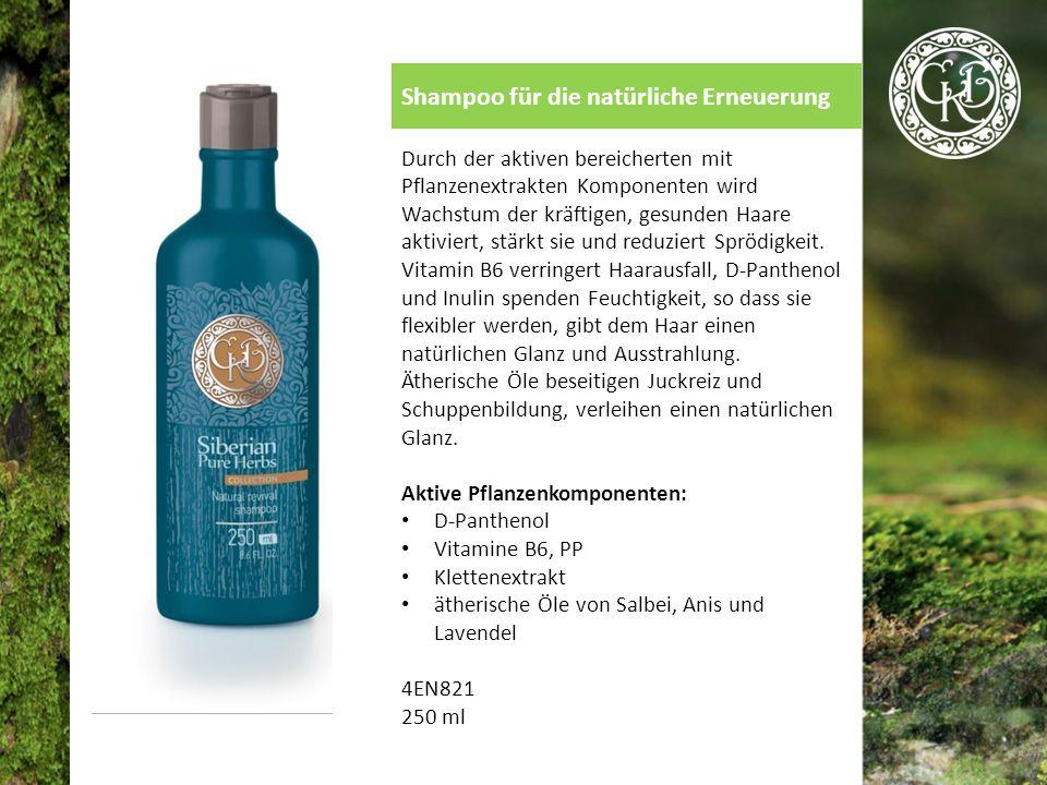 Shampoo für die natürliche Erneuerung Durch der aktiven bereicherten mit Pflanzenextrakten Komponenten wird Wachstum der kräftigen, gesunden Haare aktiviert, stärkt sie und reduziert Sprödigkeit.