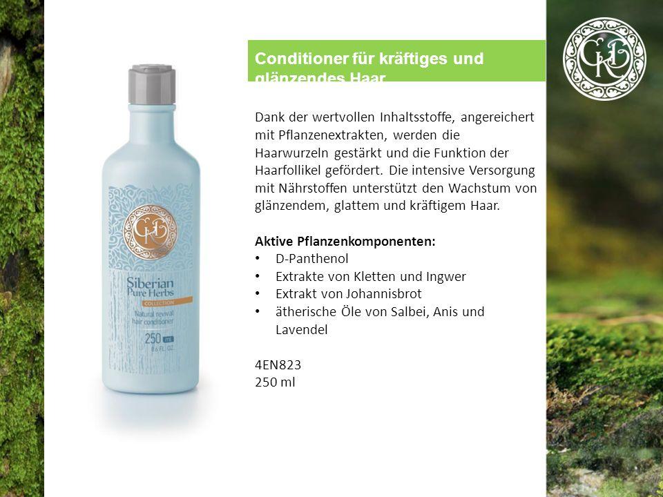 Conditioner für kräftiges und glänzendes Haar Dank der wertvollen Inhaltsstoffe, angereichert mit Pflanzenextrakten, werden die Haarwurzeln gestärkt und die Funktion der Haarfollikel gefördert.