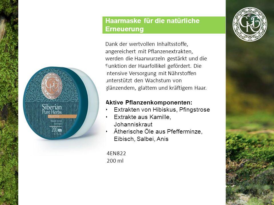 Haarmaske für die natürliche Erneuerung Dank der wertvollen Inhaltsstoffe, angereichert mit Pflanzenextrakten, werden die Haarwurzeln gestärkt und die Funktion der Haarfollikel gefördert.