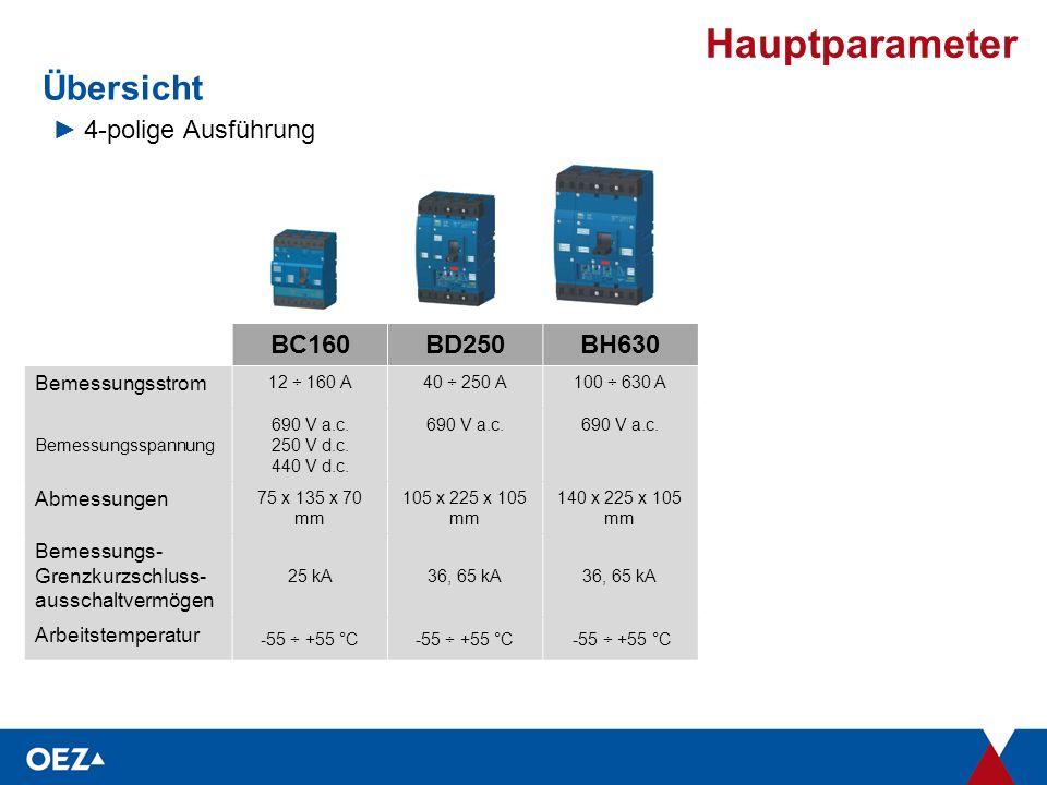 Hauptparameter BC160BD250BH630 Bemessungsstrom 12 ÷ 160 A40 ÷ 250 A100 ÷ 630 A Bemessungsspannung 690 V a.c.