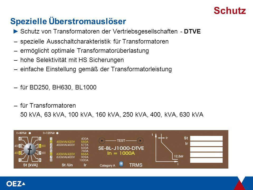 Schutz Spezielle Überstromauslöser ►Schutz von Transformatoren der Vertriebsgesellschaften - DTVE –spezielle Ausschaltcharakteristik für Transformatoren –ermöglicht optimale Transformatorüberlastung –hohe Selektivität mit HS Sicherungen –einfache Einstellung gemäß der Transformatorleistung –für BD250, BH630, BL1000 –für Transformatoren 50 kVA, 63 kVA, 100 kVA, 160 kVA, 250 kVA, 400, kVA, 630 kVA