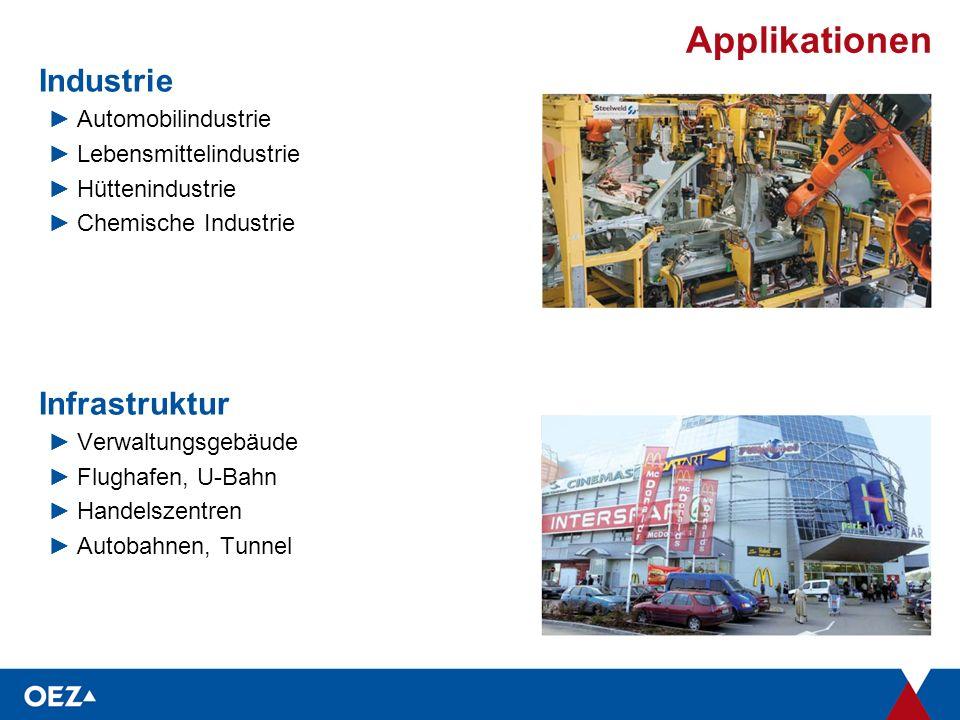 Applikationen Industrie ►Automobilindustrie ►Lebensmittelindustrie ►Hüttenindustrie ►Chemische Industrie Infrastruktur ►Verwaltungsgebäude ►Flughafen, U-Bahn ►Handelszentren ►Autobahnen, Tunnel