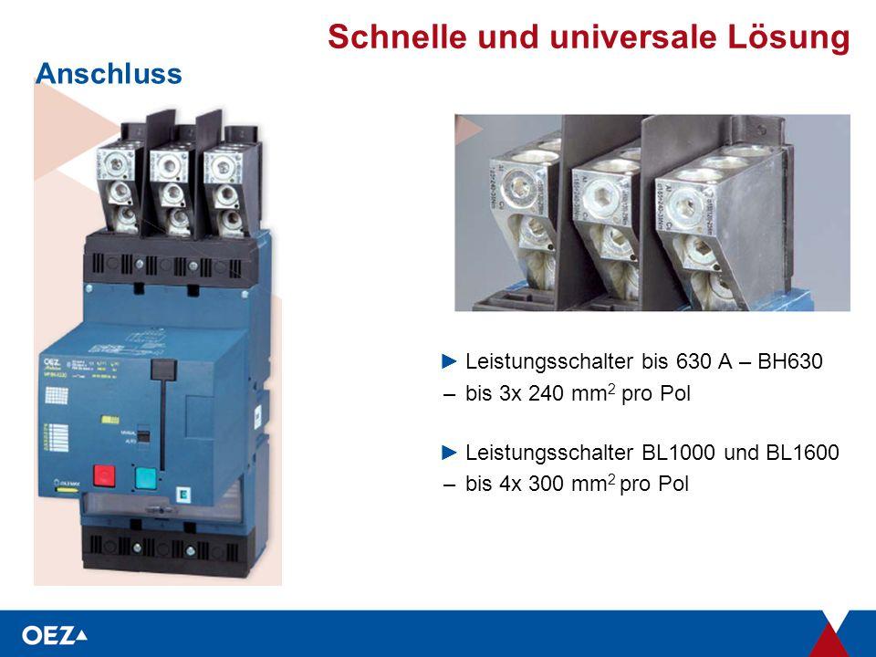 Schnelle und universale Lösung Anschluss ►Leistungsschalter bis 630 A – BH630 –bis 3x 240 mm 2 pro Pol ►Leistungsschalter BL1000 und BL1600 –bis 4x 300 mm 2 pro Pol