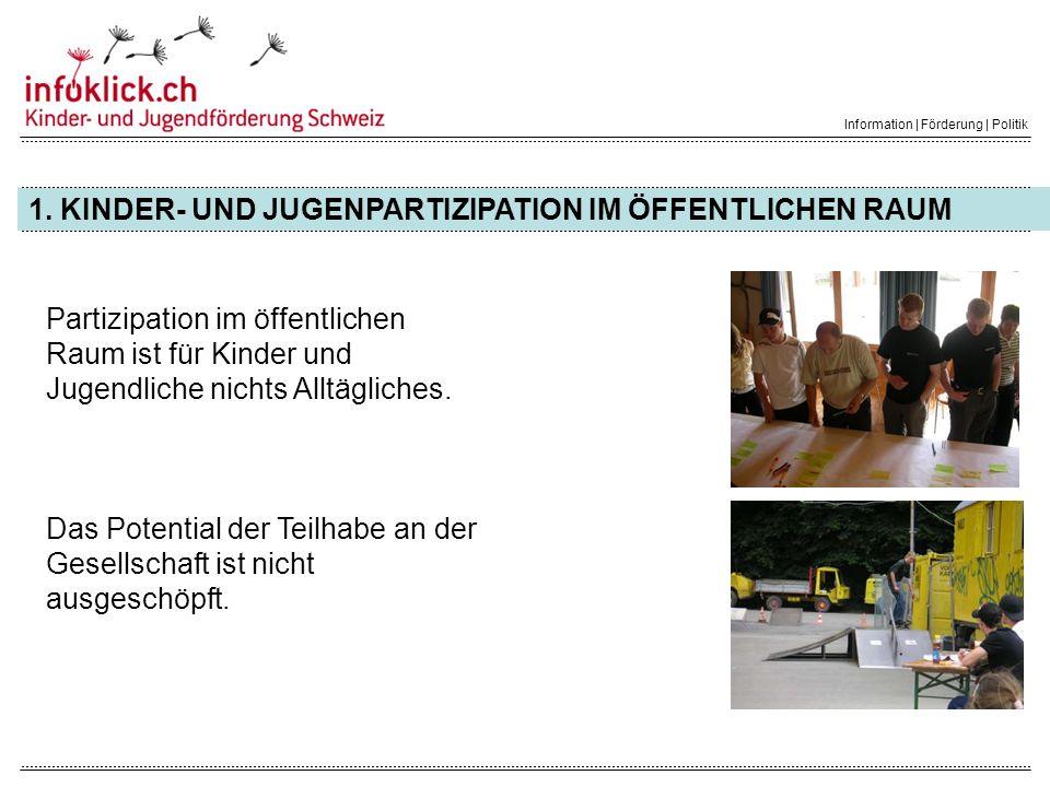 WEITERE INFORMATIONEN Information | Förderung | Politik Projektwebsite www.jugendmitwirkung.ch Infoklick.ch Kinder- und Jugendförderung Schweiz Sandstrasse 5 3302 Moosseedorf +41 31 850 10 90 welcome@infoklick.ch www.infoklick.ch