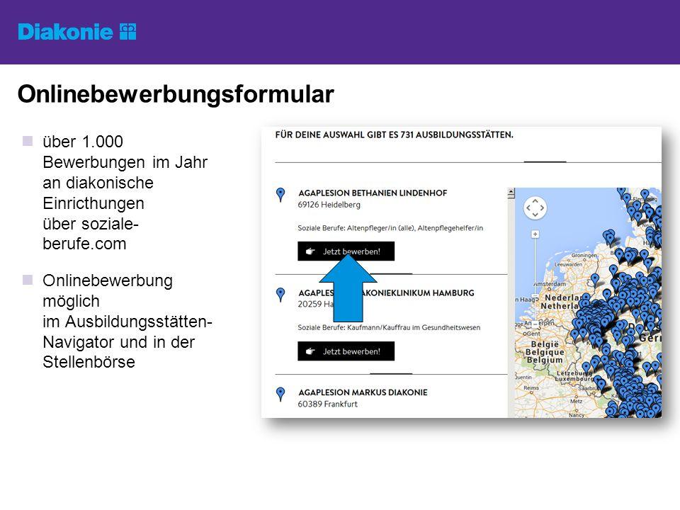 Onlinebewerbungsformular über 1.000 Bewerbungen im Jahr an diakonische Einricthungen über soziale- berufe.com Onlinebewerbung möglich im Ausbildungsst