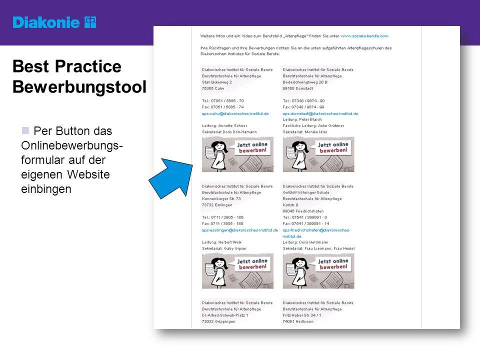 Best Practice Bewerbungstool Per Button das Onlinebewerbungs- formular auf der eigenen Website einbingen