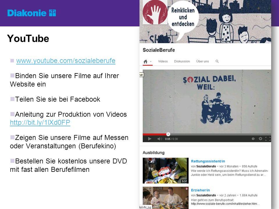 YouTube www.youtube.com/sozialeberufe Binden Sie unsere Filme auf Ihrer Website ein Teilen Sie sie bei Facebook Anleitung zur Produktion von Videos ht
