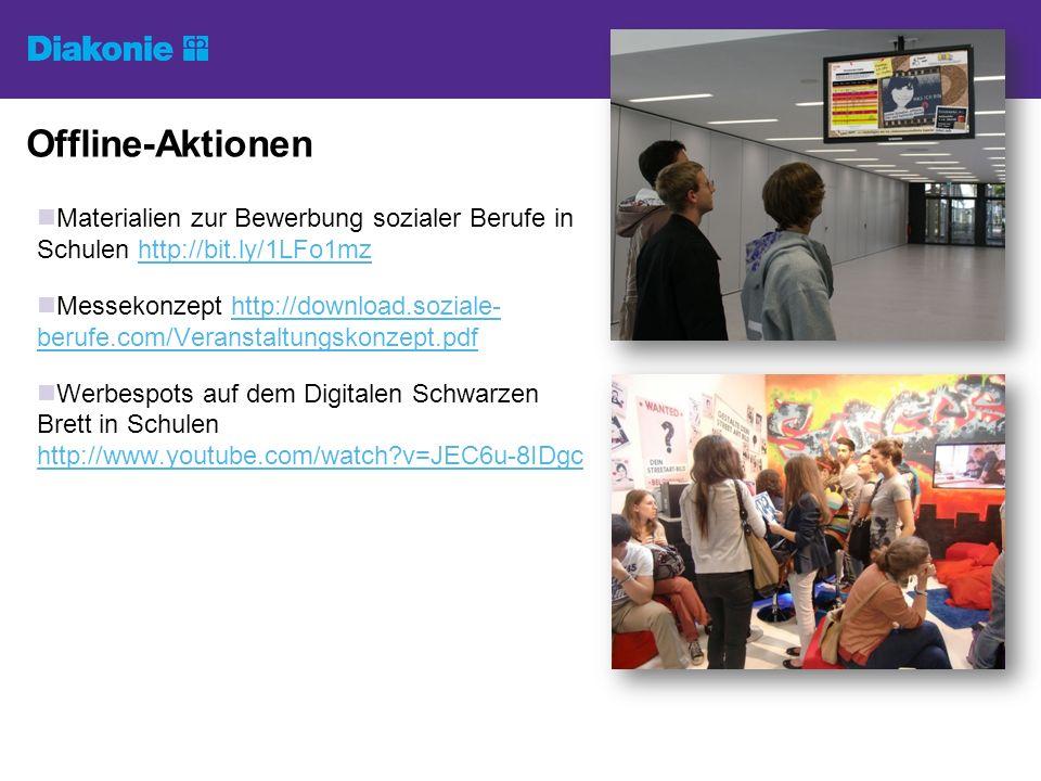 Offline-Aktionen Materialien zur Bewerbung sozialer Berufe in Schulen http://bit.ly/1LFo1mzhttp://bit.ly/1LFo1mz Messekonzept http://download.soziale-