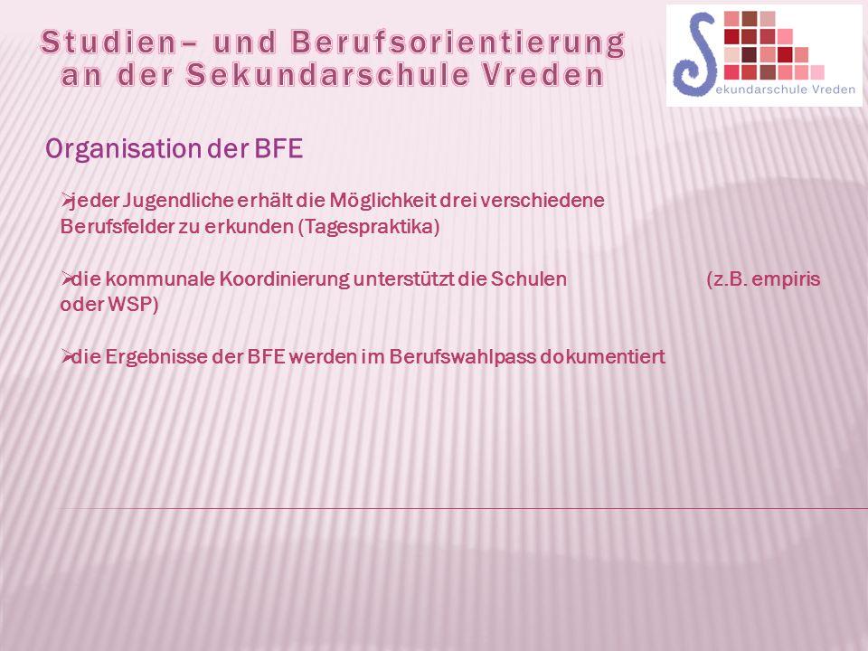Organisation der BFE  jeder Jugendliche erhält die Möglichkeit drei verschiedene Berufsfelder zu erkunden (Tagespraktika)  die kommunale Koordinierung unterstützt die Schulen (z.B.