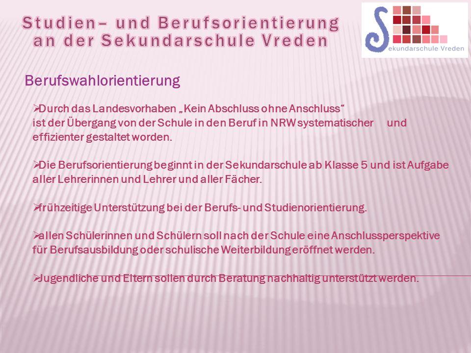 """Berufswahlorientierung  Durch das Landesvorhaben """"Kein Abschluss ohne Anschluss ist der Übergang von der Schule in den Beruf in NRW systematischer und effizienter gestaltet worden."""