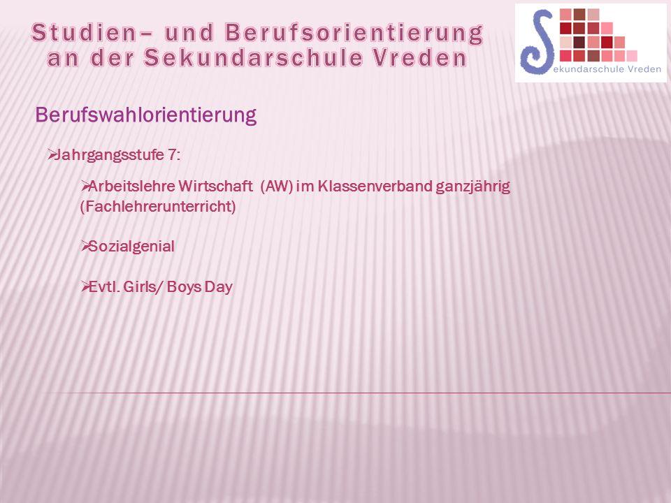  Jahrgangsstufe 7:  Arbeitslehre Wirtschaft (AW) im Klassenverband ganzjährig (Fachlehrerunterricht)  Sozialgenial  Evtl.