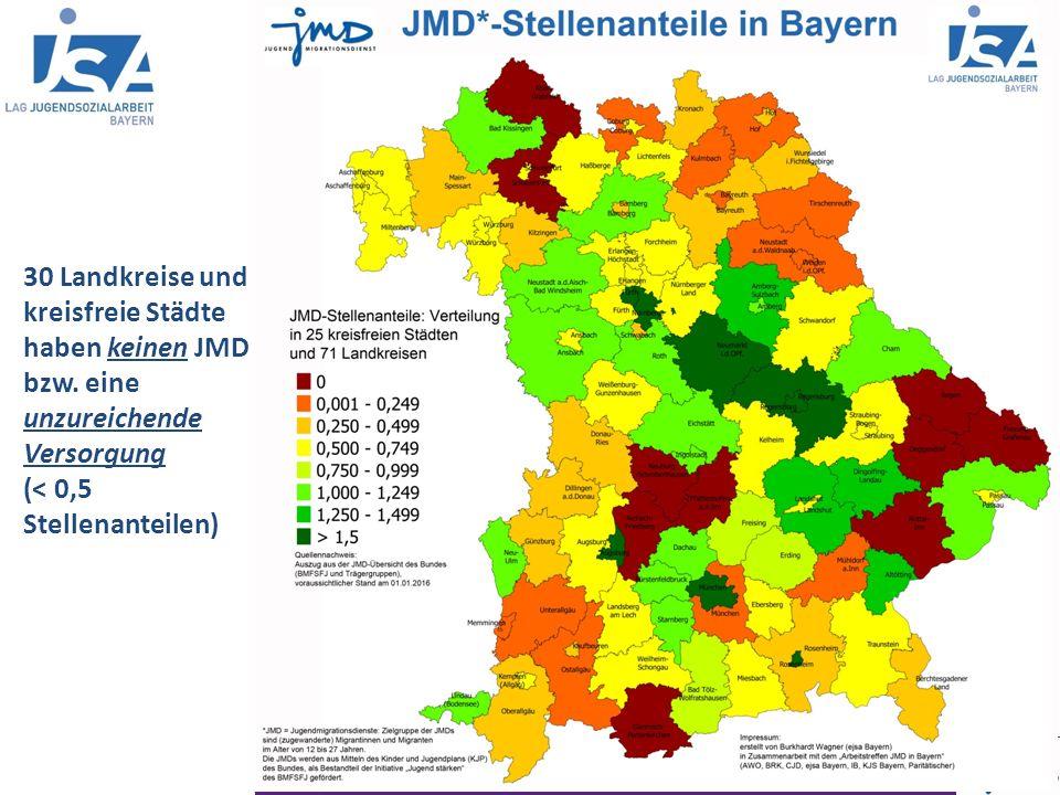 """Informationen """"Jugendmigrationsdienste in Bayern, LAG Jugendsozialarbeit Bayern Stand: 01.07.2015 30 Landkreise und kreisfreie Städte haben keinen JMD bzw."""