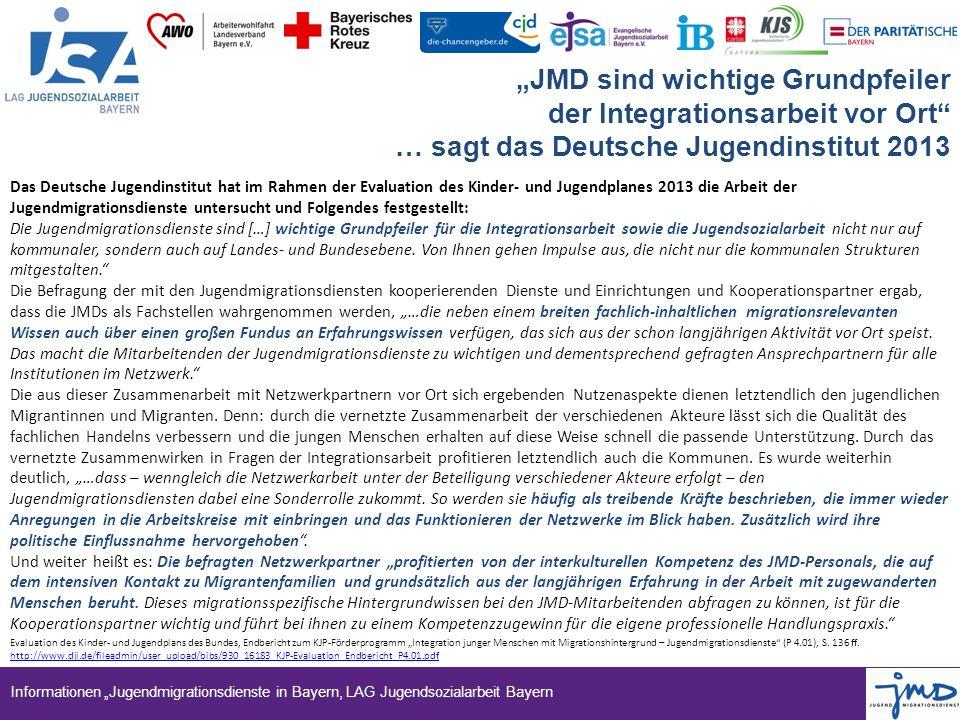 """Informationen """"Jugendmigrationsdienste in Bayern, LAG Jugendsozialarbeit Bayern """"JMD sind wichtige Grundpfeiler der Integrationsarbeit vor Ort"""" … sagt"""